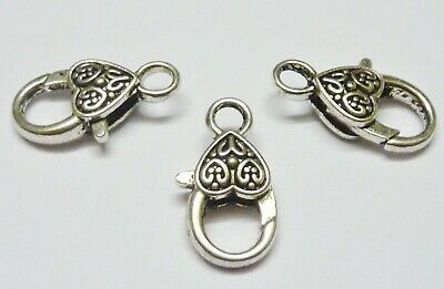 5 pce Large Antique Silver Heart Lobster Clasp 25mm x 14mm Jewellery Making