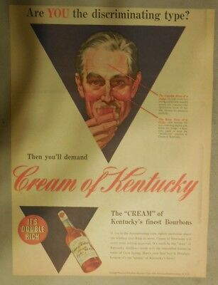 Cream of Kentucky Whiskey Ad: Kentucky's Finest Bourbons ! from 1940's