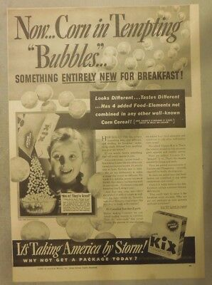 Kix Cereal Ad: Introducing New Corn Kix Cereal from 1939 11 x 15 inches