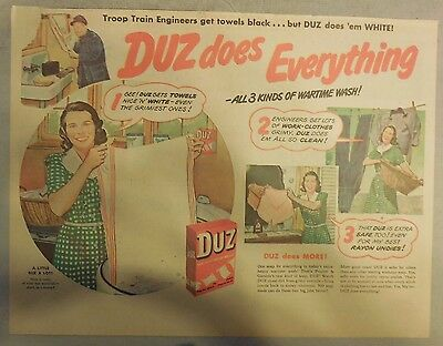 DUZ Detergent Ad: DUZ Does Everything !: DUZ Ad from 1940's