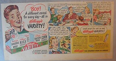 Kellogg's Cereal Ad: Variety Pack Ad from 1930's-1940's 7.5  x 15 inches