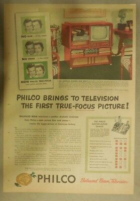 Philco Ad: Philco Brings to Television The First True Focus Picture! from 1950