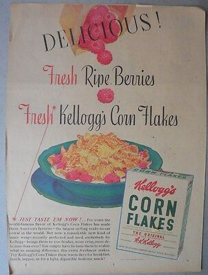 Kellogg's Cereal Ad: Delicious Corn Flakes ! 1930's-1940's 11 x 15 inches