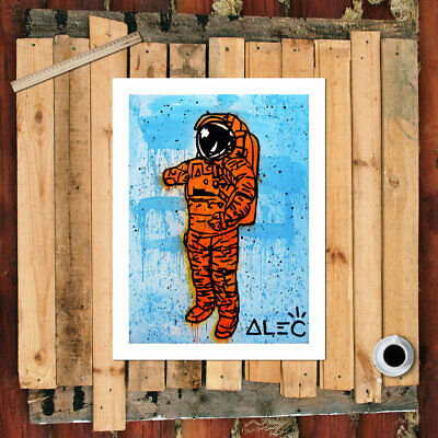 "Alec Monopoly Graffiti Handcraft Oil Painting on Canvas,""Orange Astronaut"" 36"""