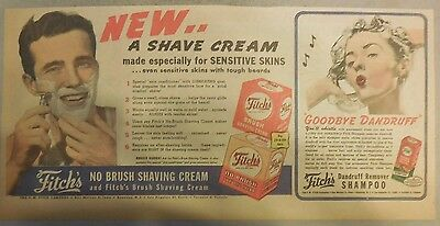 Fitch's Shaving Cream Ad: No Brush Shaving Cream and Shampoo from 1940's