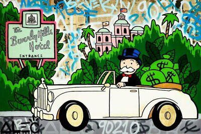 "Alec Monopoly Graffiti Handcraft Oil Painting on Canvas,""Beverly Hills"" 36"""