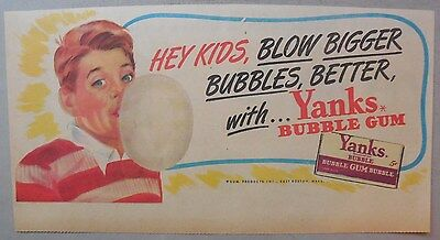 """Yanks Bubble Gum Ad: """"Hey Kids!"""" Original Ad from 1930's-40's: 7.5 x 15 inches"""
