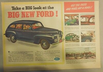 Ford Car Ad: Take A Big Look At The Big New Ford For 1941 ! Size: 11 x 15 inches