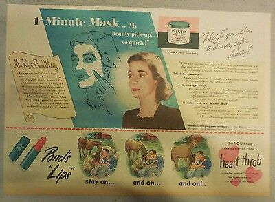 Pond's Ad: Pond's 1 Minute Mask ! Pond's Cold Cream!  from 1940's