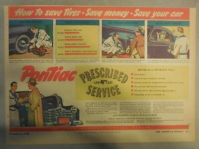 Pontiac Service Ad: Prescribed Low Cost Service from 1942 Size: 11 x 15 inches