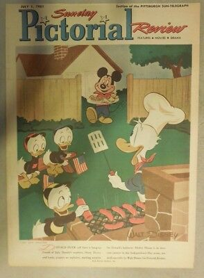 Mickey Mouse Donald & Duck Sunday Magazine Cover by Walt Disney from 7/1/1951
