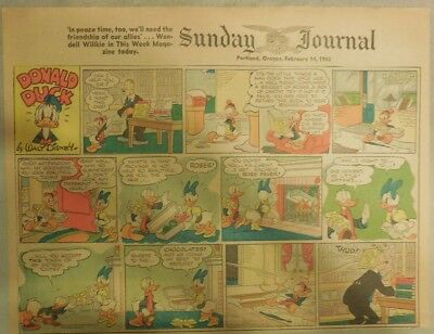 Donald Duck Sunday Page by Walt Disney from 2/14/1943 Half Page Size