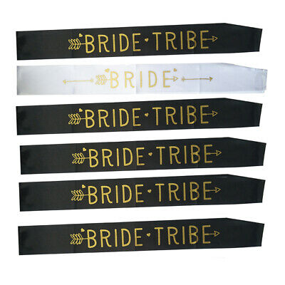 Hen Do Sashes Girls Party Women Bride To Be Tribe Gold Black White Accessories