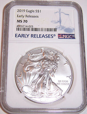 2019 $1 NGC MS70 American Silver Eagle Early Releases Blue Label!!!