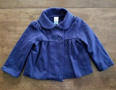 Gymboree Toddler Girls Coat Jacket Size 2T - 3T Navy Blue Double Breasted Cotton