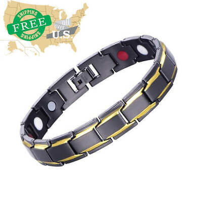 US Therapeutic Energy Healing Bracelet Stainless Steel Magnetic Therapy Bracelet