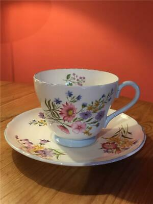 Shelley Wild Flowers 13668 Blue Rim Breakfast / Large Tea Cup and Saucer - Dmg 3