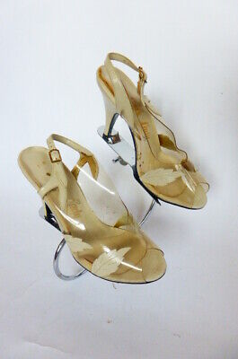 5ffbbe76354 VTG Shoes SZ 5N Clear Vinyl   Ivory Leather w Leaves Open Toe Slingback  Stiletto