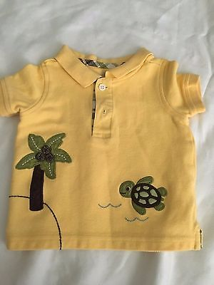 Gymboree newborn boys 0-3 months polo dress shirt yellow turtle dressy church