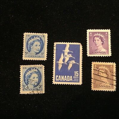 Canadian Postage Stamps, Modern, Used, 5 Pieces