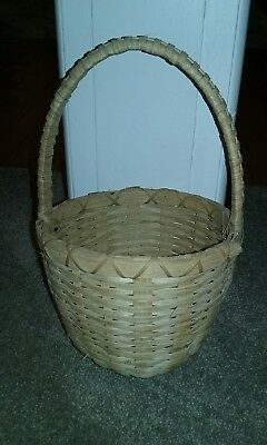 """Vintage Woven Gathering Market Basket Round w/ Handle 10"""" tall 6.5"""" wide"""