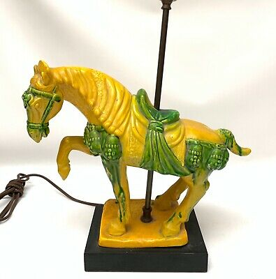 """Vintage Chinese Tang Dynasty War Horse Pottery Lamp Large Warrior 24"""""""