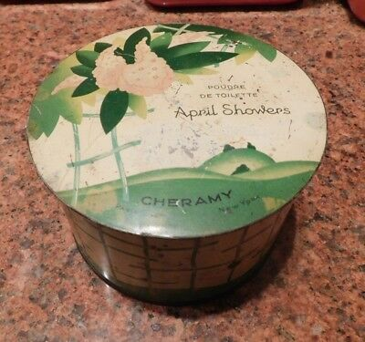 ANTIQUE 1920's APRIL SHOWERS EMPTY TIN POWDER BOX GREAT GRAPHICS