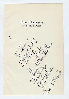 ERNEST HEMINGWAY friends - MULTI-SIGNED autograph super rare written life story
