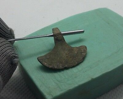 Rare Perfect Ancient Bronze Pendant AXE Amulet Suspension Viking 9-11 A.D #377
