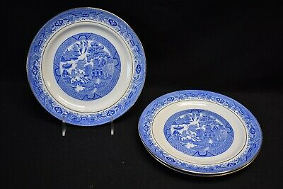 Royal Grafton England Blue Willow Smooth Set of 3 Luncheon Plates (Crazing)