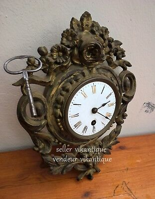 Japy Frères antique wall clock 1849-1887 small cartel clock iron 19 th Napoleon