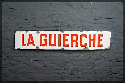 Beautiful Large Vintage French Enamel Sign - La Guierche - Interior Design Piece