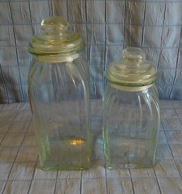 Vintage Clear Ribbed Glass Apothecary Jars Canisters Heavy (259)
