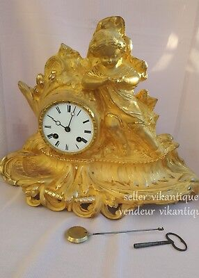 Japy Frères & Cie Antique french gilded bronze mantel clock
