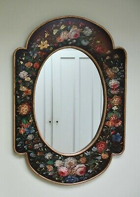 Vintage Dutch Style - Hand Painted Flowers Wooden Console Side Table Oval Mirror