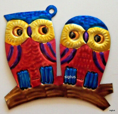 Mexican Hand Painted Tin PAIR OF OWLS Ornament! One of many colors! Brainy!