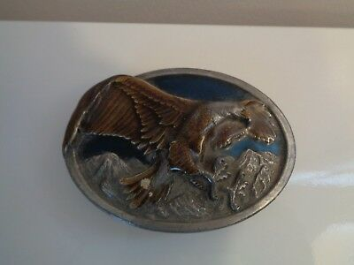 Rarely Used, Vintage Eagle 3 Dimensional Pewter Belt Buckle  By Siskiyou