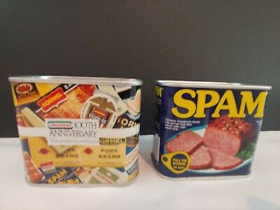 Vintage Lot of 2 Original  Spam Banks Hormel