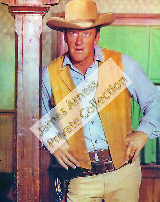 "James Arness Gunsmoke Marshal Dillon  ""Blue Shirt""  8 x 10  Color Photo"