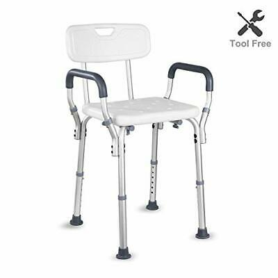 HAIRBY Shower Chair with Arms Back Adjustable Medical Bath Seat Handles for Hand