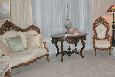 Rococo Revival Meeks Couch and Chair Hawkins Pattern with Parlor Table circ 1860