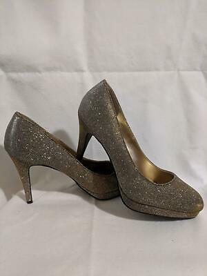 3509934c735 FIONI NIGHT WOMENS Size 10M Gold/Silver Sparkly Platform Pumps High Heel  Shoes