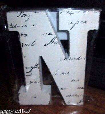 "New Off White Block Letter Blk Handwriting Letter ""N""  4.5""T X 3.75"" W"
