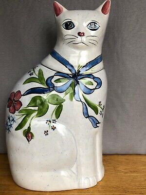 Vtg N.S. Gustin Co Hand Decorated White Cat Ceramic Cookie Jar Decor Cute USA