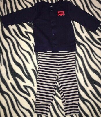 Baby Boys Infants 3 Months Two Piece Outfit Set Navy Blue Gray Striped Top Pants