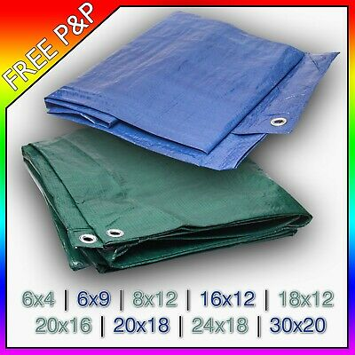 Tarpaulin Waterproof Ground Sheet with Eyelets Lightweight Camping Cover Tarp