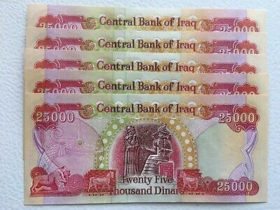 500,000 NEW CRISP UNCIRCULATED  IRAQI DINAR 20 x 25,000