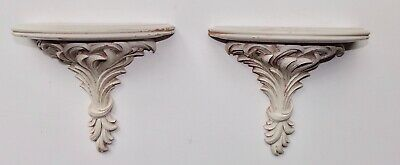 Pair Vintage Carved Wood Wall Shelf / Sconce - Ornate Design. White.