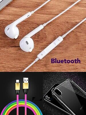 For iPhone 8 7 Plus X XR XS Max Wired Bluetooth Earphones 3 Ft USB Cable Case