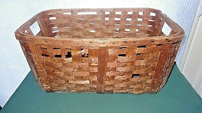 Basket Antique Laundry Wood Gathering Primitive Oak Splint Woven Farmhouse
